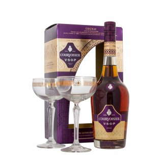 COGNAC COURVOISIER VSOP 40% Gift Pack with 2 Coupette Glasses