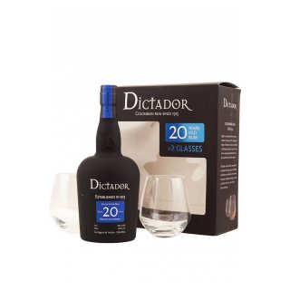 DICTADOR RUM 20 YO Gift Pack with 2 Glasses
